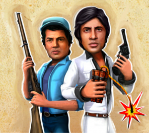 Screen Shot 2014 01 03 at 2.27.00 PM 300x268 Sholay 3D re release accompanied by Sholay: Bullets of Justice mobile and Facebook game
